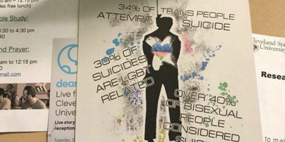 Bigots Celebrate the Opening of New Campus LGBT Center with Fliers Promoting Queer Suicide