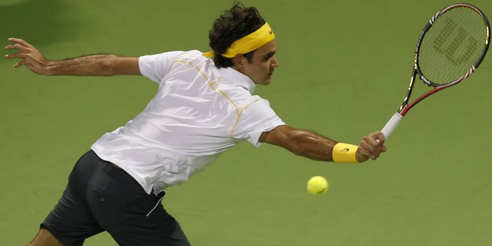 Swiss Tennis Pro Roger Federer Gets Caught Off Guard by Opponent's Very Large Distraction