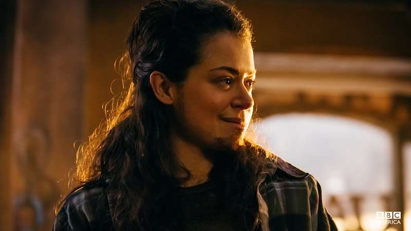 Tatiana Maslany as Tony Sawicki in Orphan Black, trans male TV characters 02