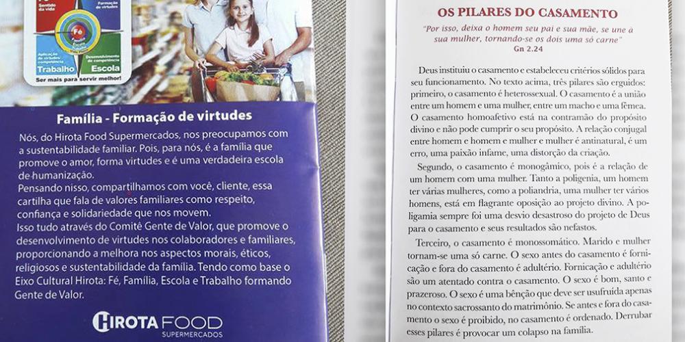 Supermercado distribui cartilha com discurso homofóbico a clientes