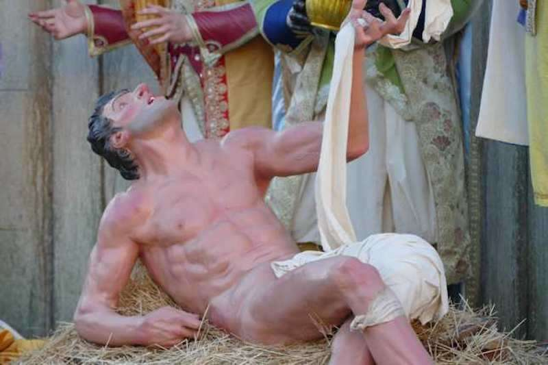 Vatican nativity, naked man