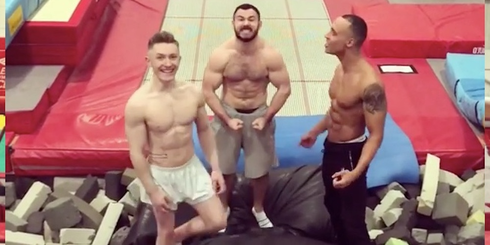 You'll Jump for This Viral Video of 3 Studly Olympic Gymnasts Backflipping Into a Pair of Shorts