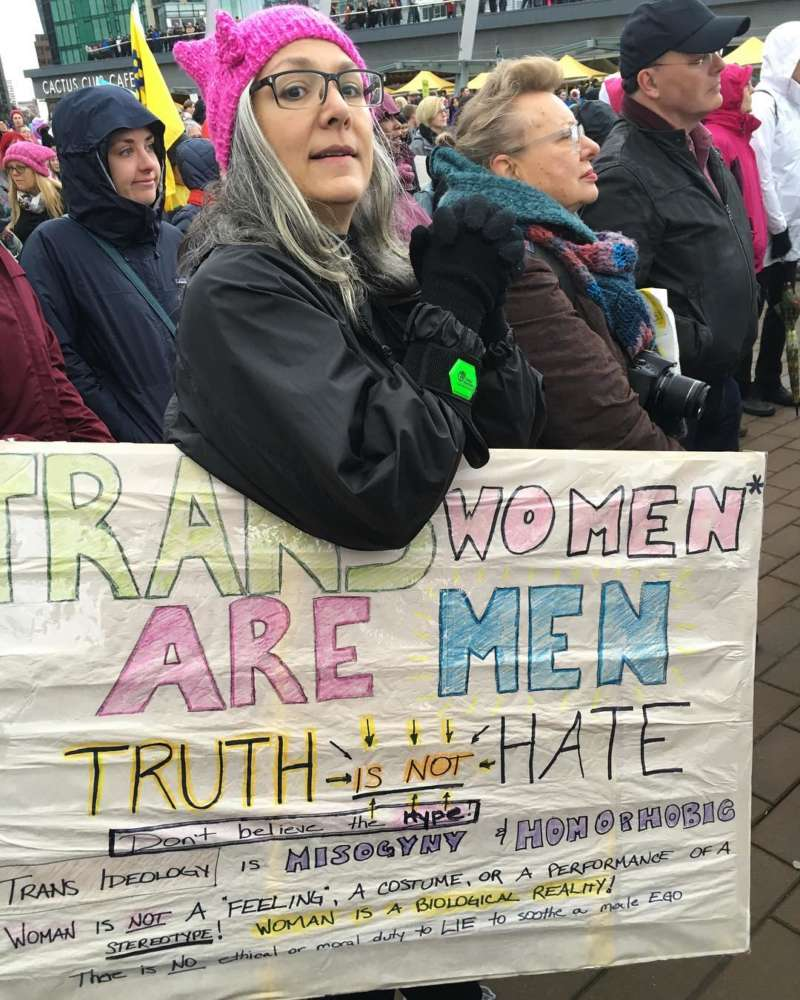 transphobic sign women's march