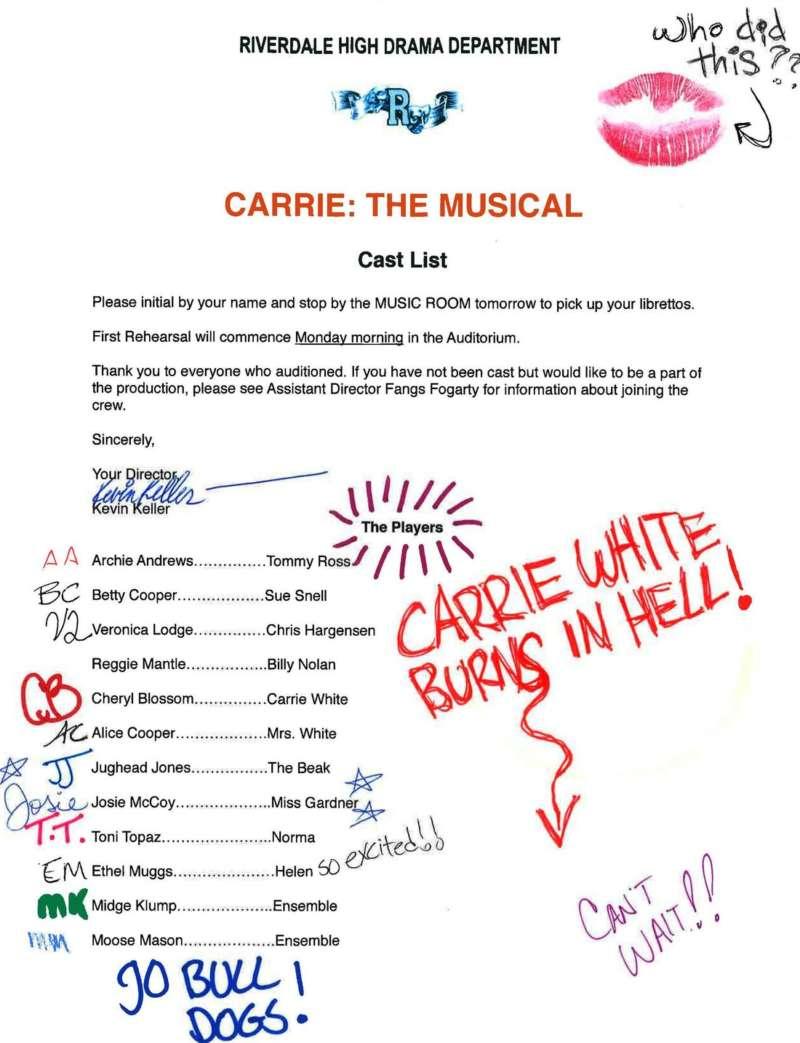 riverdale carrie cast list