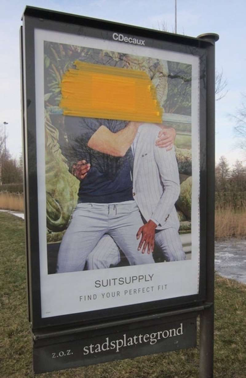 Suitsupply ad defaced