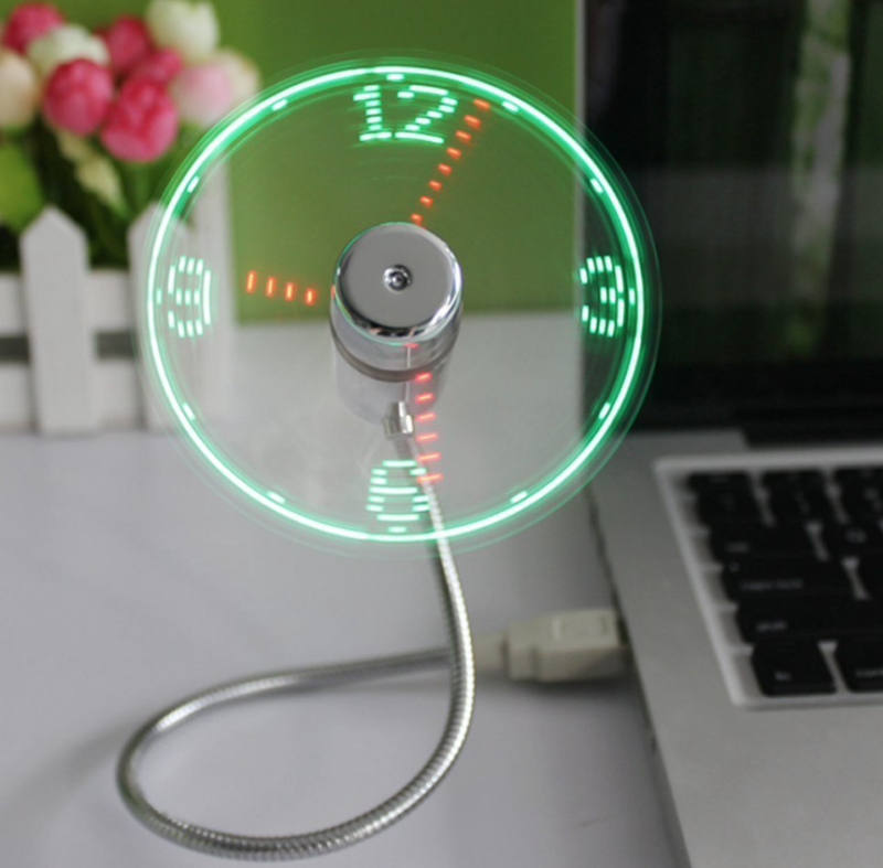 home office clock fan working from home