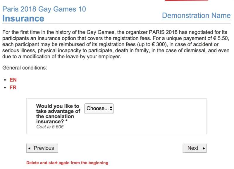 gay games registration insurance
