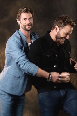 Chris Pratt and Chris Hemsworth Hug Embrace