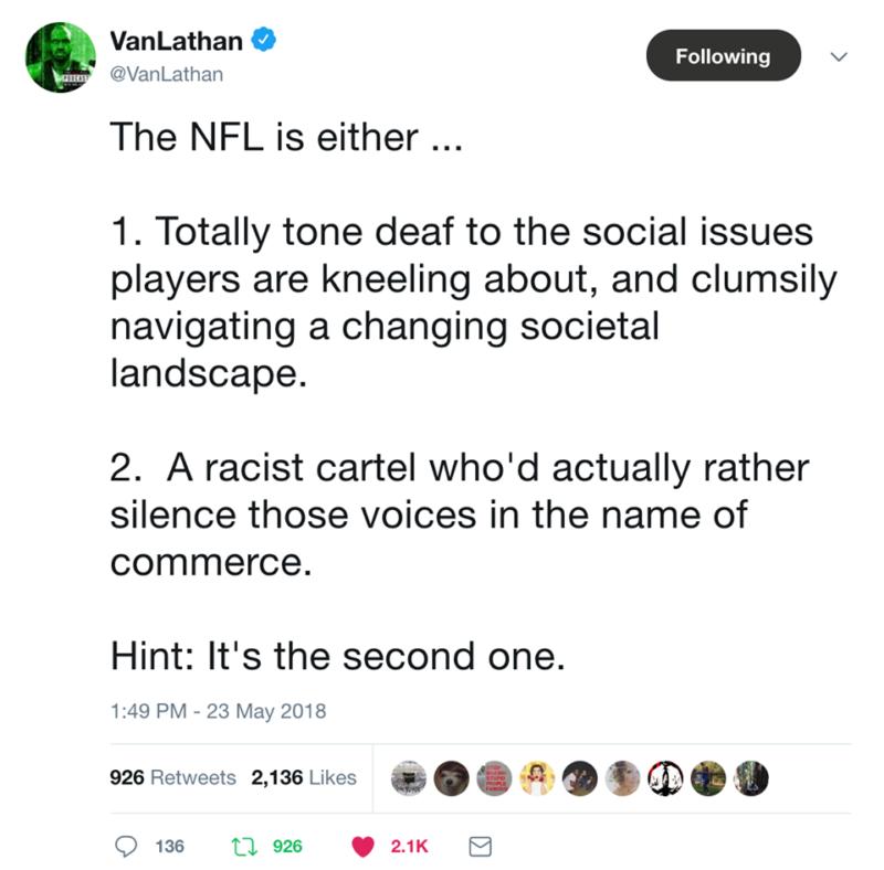 nfl kneeling ban van lathan tweet
