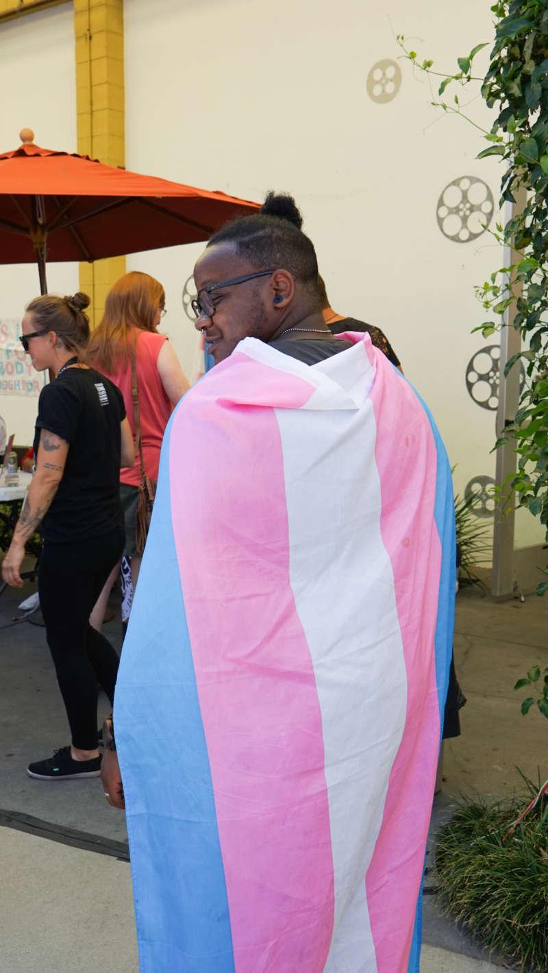 Trans Pride L.A. flag cape andrea jenkins