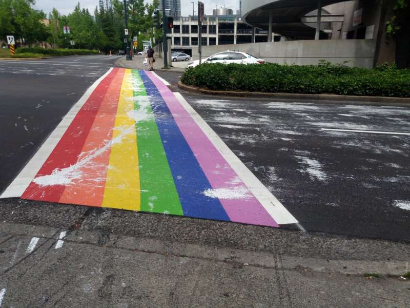 rainbow crosswalks vandalized surrey