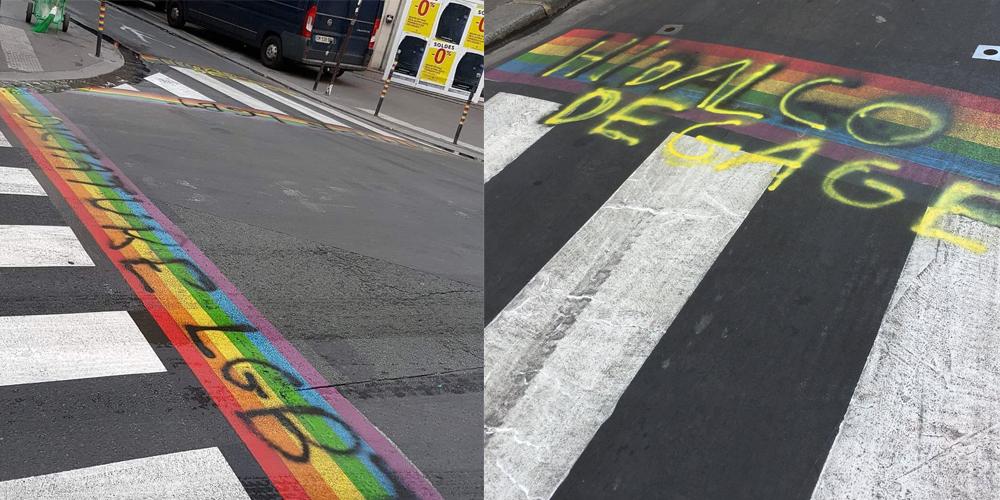 «Dictature LGBT»: Les passages piétons arc-en-ciel ont à nouveau été dégradés