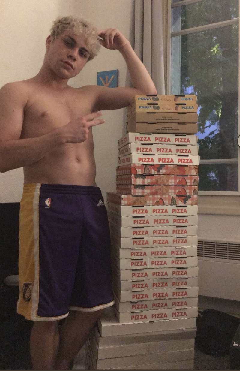 pizza box chair shirtless