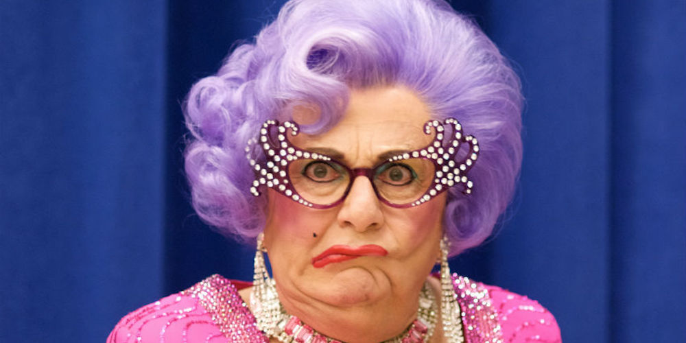 The Man Behind Dame Edna Says He's 'Grateful' to Donald Trump While Spouting Transphobic Drivel