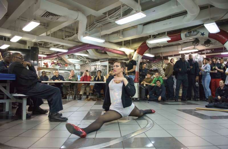 navy drag queen harpy daniels inline performance