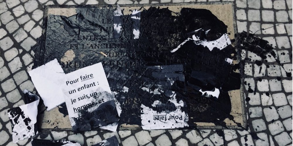 During Paris Gay Games, Plaque for Gay Couple Burned Alive Defaced