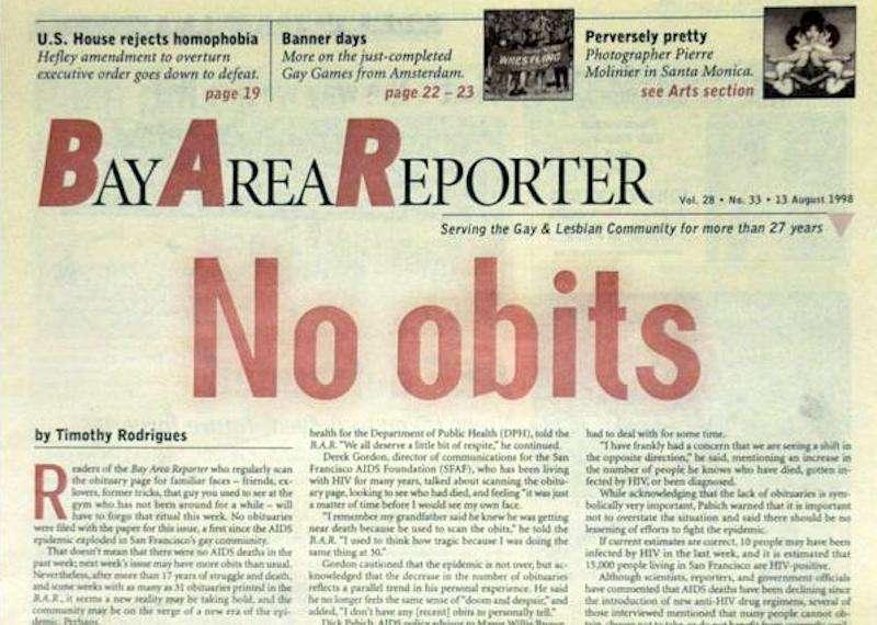 no obits cover bay area reporter