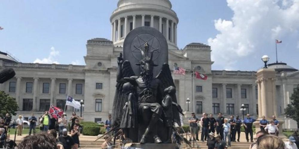 Satanic Temple Raises Hell at the Arkansas Capitol by Unveiling a Badass Baphomet Statue