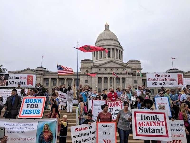 Satanic Temple Arkansas 02, Baphomet statue 02