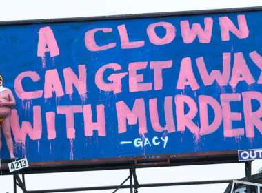 naked trump clown billboard feat