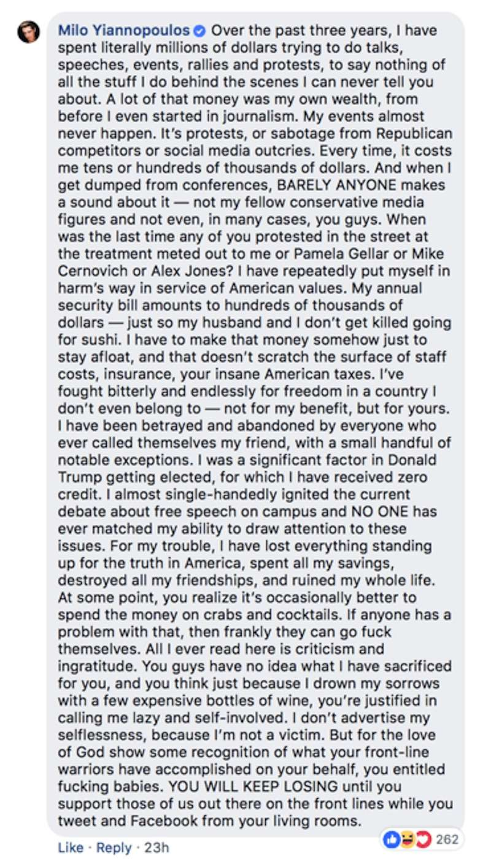 Milo Yiannopoulos Facebook 02