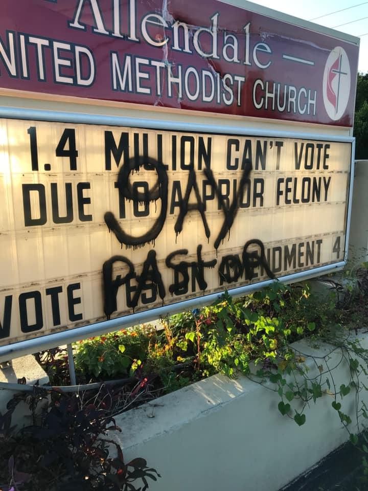 Allendale United Methodist Church Vandalism before