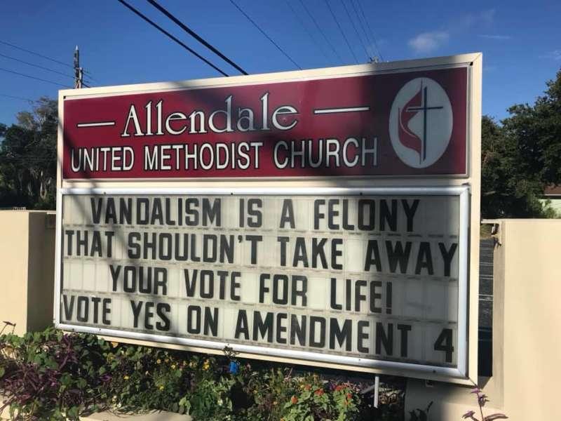 Allendale United Methodist Church Vandalism reverse