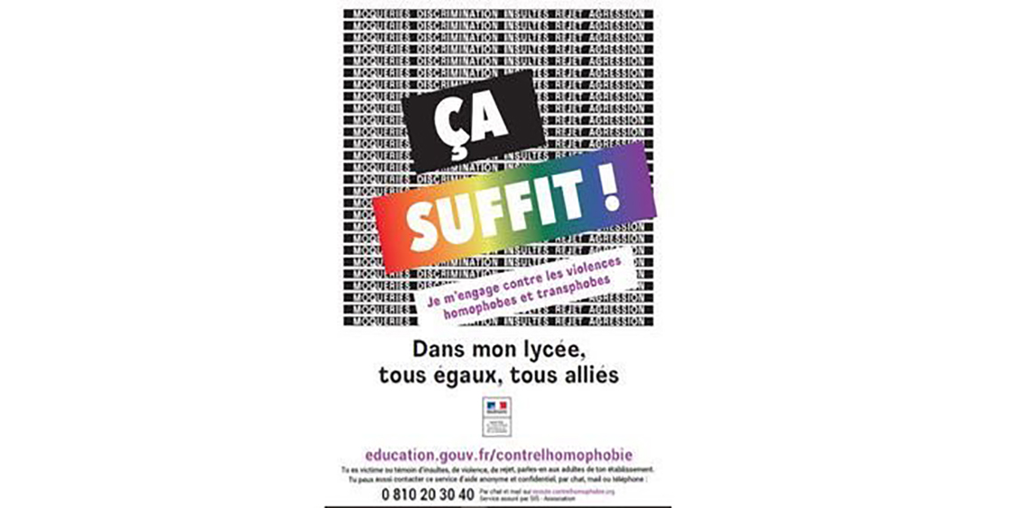 «Ça suffit!», la nouvelle campagne contre l'homophobie et la transphobie dans les écoles
