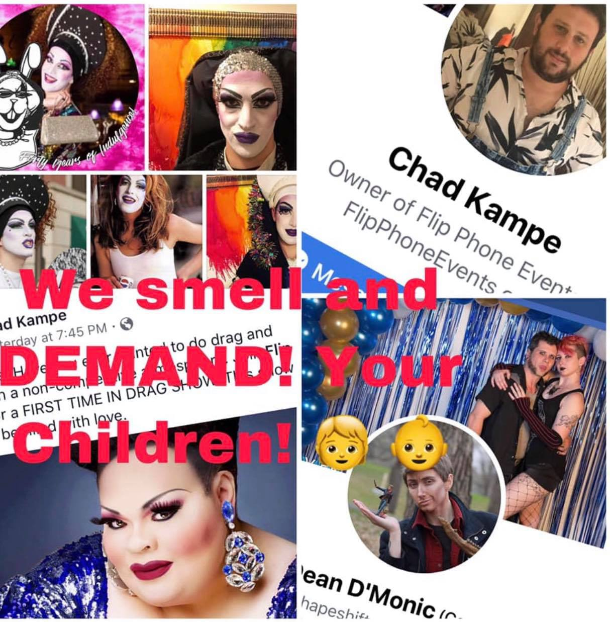 mall drag show collage