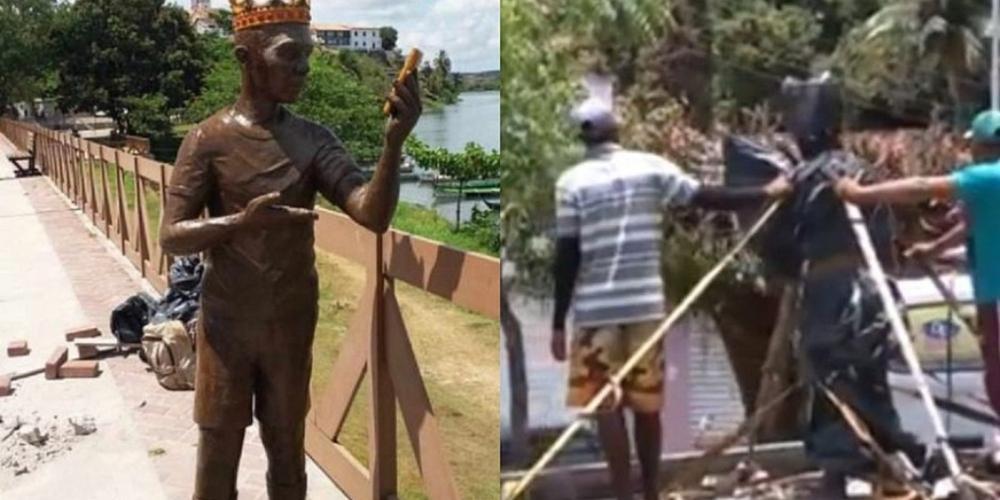 Carlinhos Maia tem estátua removida de sua cidade em protesto de moradores (vídeo)